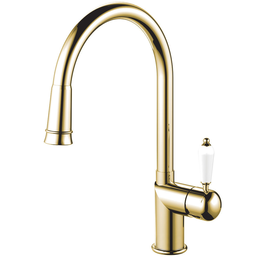 Brass/Gold Kitchen Tap Pullout hose - Nivito CL-260 White Porcelain Handle Color
