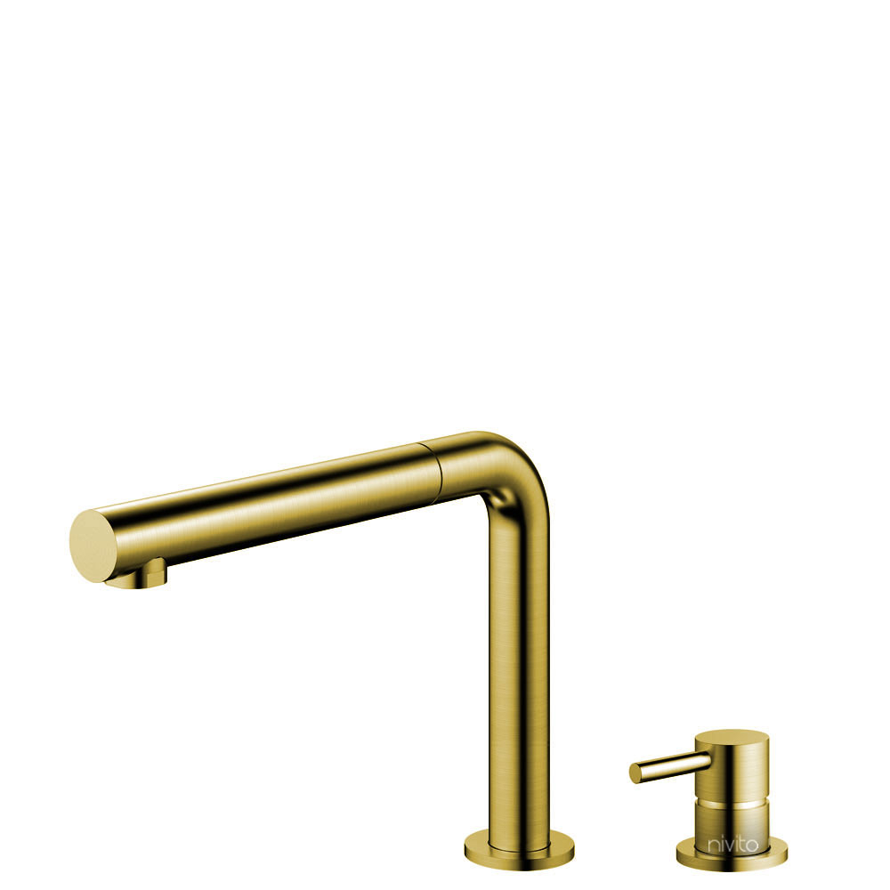 Brass/Gold Kitchen Tap Pullout hose / Seperated Body/Pipe - Nivito RH-640-VI