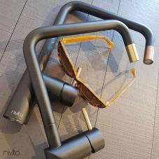 Brass/Gold Kitchen Mixer Tap Black/Gold/Brass - Nivito 1-RH-340-BISTRO