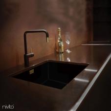 Brass/Gold Kitchen Mixer Tap Black/Gold/Brass - Nivito 2-RH-340-BISTRO