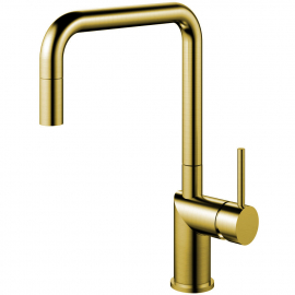 Brass/Gold Kitchen Mixer Tap Pullout hose - Nivito RH-340-EX
